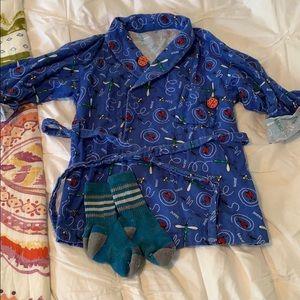 Kids flannel robe and Smartwool socks